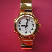 Women's Talking Watch Gold Tone White Face 4 Button (Time/Alarm)