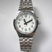 Women's Talking Watch Silver Tone White Face 1 Btn. (Time Only)