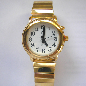 Women's Talking Watch Gold Tone White Face 1 Button (Time Only)