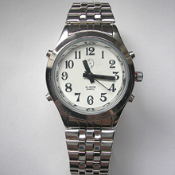 Men's Talking Watch Silver Tone White Face 4 Btn. (Time/Alarm)