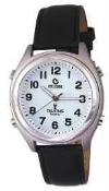 Atomic Talking Watch with Alarm and Leather Band (Unisex)