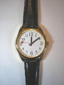 Talking Watch Gold Tone One Button with Extra Large Face and Leather Band