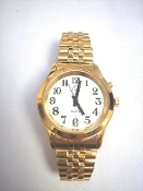 Men's Spanish Talking Watch Gold Tone White Face One Button