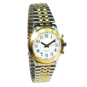Women's Talking Watch Two Tone White Face 4 Btn. (Time/Alarm)