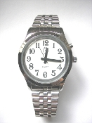 Men's Talking Watch Silver Tone White Face 1 Btn. (Time Only)