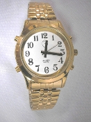 Men's Talking Watch Gold Tone White Face 4 Btn. (Time/Alarm)