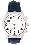 "This high fashion quality Men's Deluxe Talking Atomic watch with Alarm has clear male voice, with an easy to see 1 1/4"" white face with bold black numbers and leather band."
