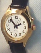 Women's Deluxe Talking Watch Gold Tone with Black Leather Band