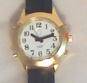 Ladies Deluxe Talking Watch With Alarm Gold Tone w/ Leather Band