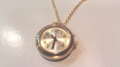 "Women's Talking Pendent Watch Gold Tone with 27"" Chain"
