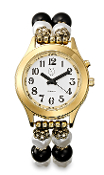 Elegance Talking Watch Gold Tone White Face w/ Pearl Band