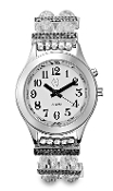 Elegance Talking Watch Silver Tone White Face 1 Btn (Time Only)