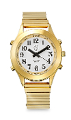 Ladies DeluxeTalking Watch Gold Tone with Alarm  for Low Vision