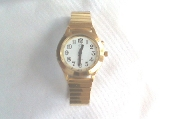 Spanish Talking Watch Gold Tone White Face 1 Button
