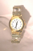 Elegance Talking Watch Gold Tone White Face w/Deluxe Beaded Band