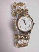 Elegance Talking Watch Gold/ Silver Tone White Face