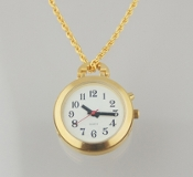 "Women's Talking Pendent Watch Gold Tone white Face 27"" Chain"